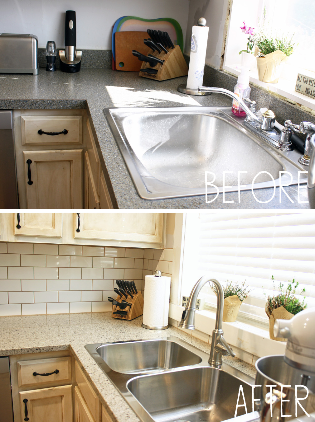 Our new kitchen countertops and backsplash… – Less Than Average Height