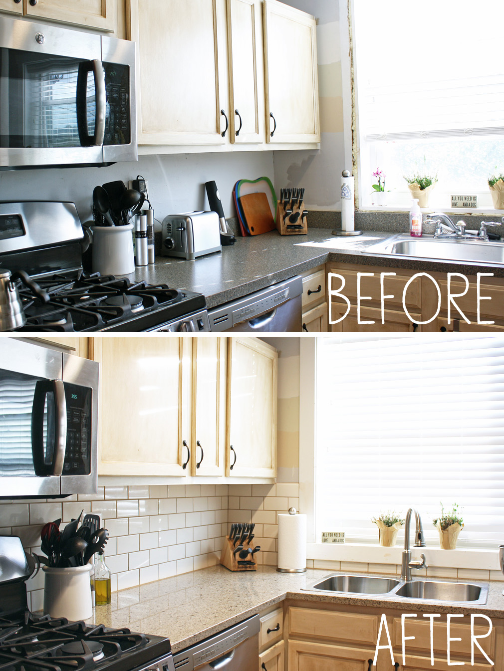 Bathroom Counter And Backsplash : A kitchen backsplash before and after reveal century