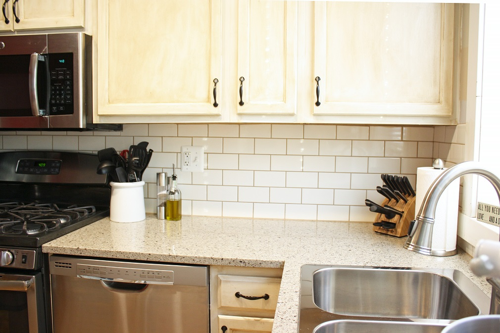 our new kitchen countertops and backsplash less than